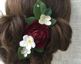 Burgundy wedding accessories,  wedding hairpiece, red wedding accessory, holiday hair accessory, weddings, red flower hair clip