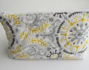 Large Cosmetic Bag, Makeup Bag,  Bridesmaid gifts, travel pouch, quilted & stabilized, Yellow, Grey