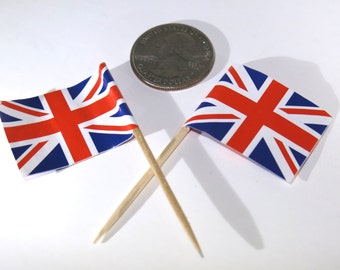 "50pc ""Great Britain flag"" tooth pick / cake topper (D48)"