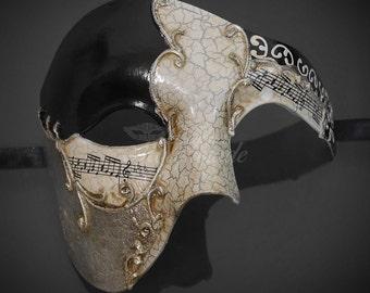 Black Half Men Face Mask Musical Venetian Masquerade Mask Phantom Vintage Design