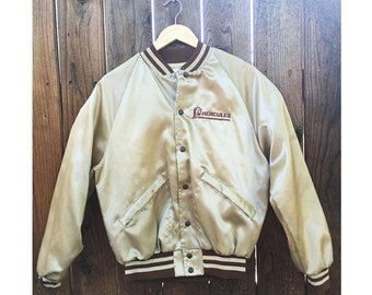 Vintage Hercules Satin Bomber Jacket Baseball Coat Size Small Medium