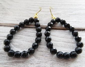 Black onyx earrings, drop earrings, dangle earrings, italian gemstone jewelry, everyday jewelry, teardrop earrings, gioielli, gift for her