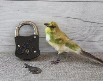 Vintage Small Caesar Metal Lock with Key, Vintage Small Padlock and Key