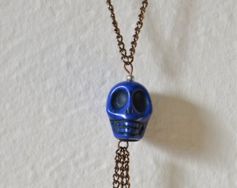 Blue Skull and Fringe Pendant Necklace