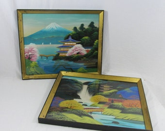 Vintage Japanese Landscape Paintings on Silk Framed Mid Century 2