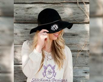 Monogrammed Wool Floppy Hat, Wool hat, winter hat