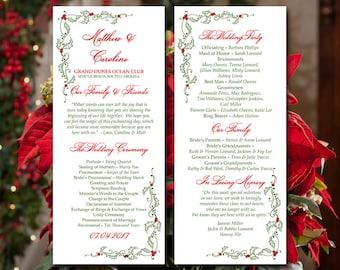 "Printable Program Template Download - Printable Wedding Program ""Festive Holly"" Ceremony Program - DIY Wedding Program - Holiday Wedding"