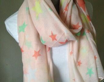 Sale 7.98 , Star Scarf, summer scarf, lightweight scarfs, star scarves, fashion scaf