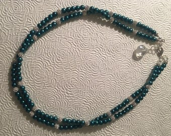 Green Pearls with Sparkling Pave Rhinestone  Necklace