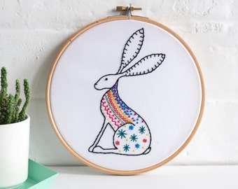 Hare Contemporary Embroidery Kit - Embroidery Hoop Art - Learn How to Embroider - Hand Embroidery Kit - Craft Kit - Embroidery Pattern