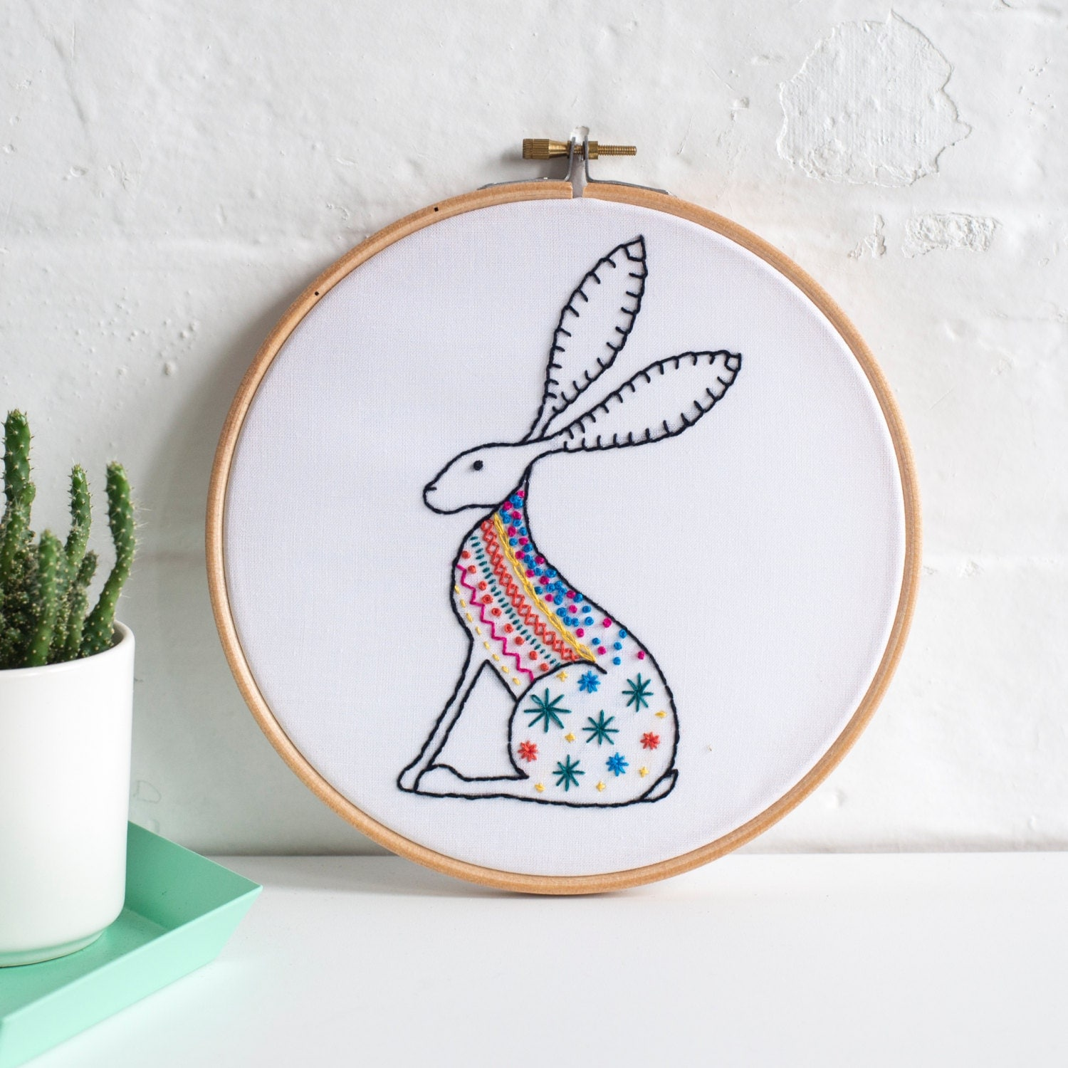 Hare contemporary embroidery kit hoop art learn