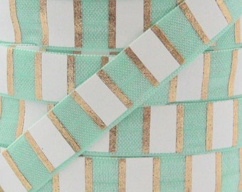 Pastel Green Stripe Metallic Gold Print Fold Over Elastic - Elastic for Baby Headbands and Hair Ties - 5 Yards 5/8 inch Printed FOE