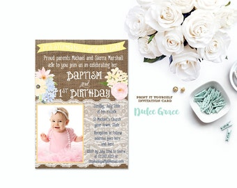 1st birthday and baptism invitation, DIY PRINTABLE, baptism invite, first birthday photo invitation, yellow flowers, bday baptism invitation