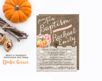 Autumn baptism invites, printable baptism invitation, girl christening, dedication invites, naming day invitations, digital invitation