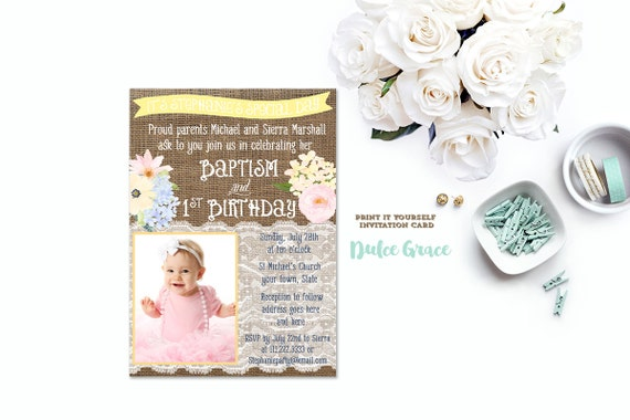 Items similar to 1st birthday and baptism invitation diy items similar to 1st birthday and baptism invitation diy printable baptism invite first birthday photo invitation yellow flowers bday baptism stopboris