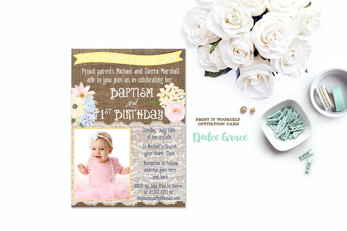 1st birthday and baptism invitation DIY PRINTABLE baptism