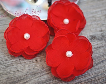 "Set of 3 Red - 1.5"" Chiffon Flowers w/ Pearl Center - Petite flower - Chiffon Flower - Fabric Flower - wholesale flowers - Headbands Supply"
