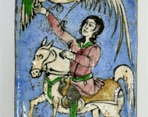 Antique Hand-Made Persian Qajar Dynasty Glazed Ceramic Tile ~ Hunter & Falcon