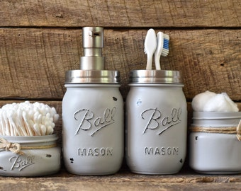 Items Similar To Mason Jar Hair Station Caddy Bathroom