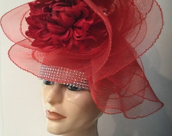 Fancy Red Pillbox Hat