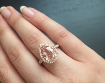 14K Rose Gold Pear-Shaped Morganite Ring Style #L4825