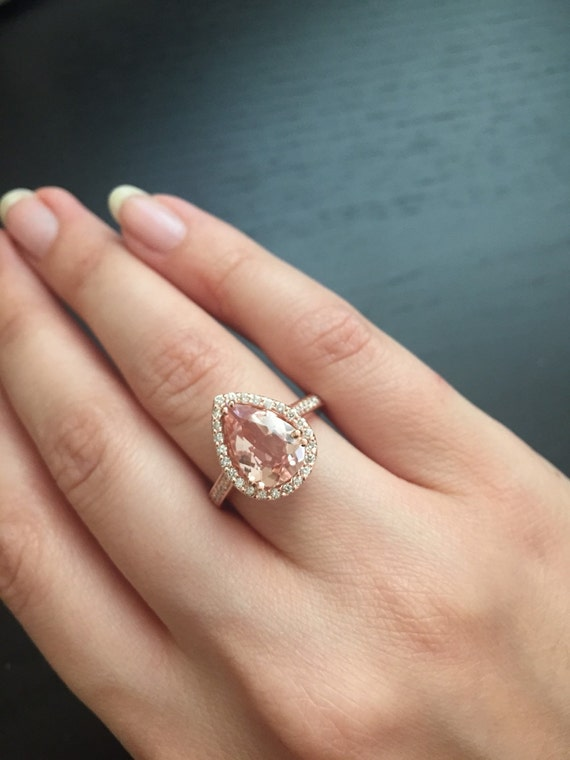 14k Rose Gold Pear Shaped Morganite Ring Style L4825