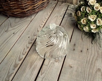 Vintage Glass Dome - French Antique Pressed Glass Food Cover - French Vintage Cheese Protector - Antique Food Cloche - Shabby Chic Table