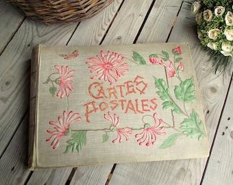 Album Ancien de Cartes Postales avec 180 Cartes - Art Deco - Décor Floral - Cartes Postales Paris - Album de Collection
