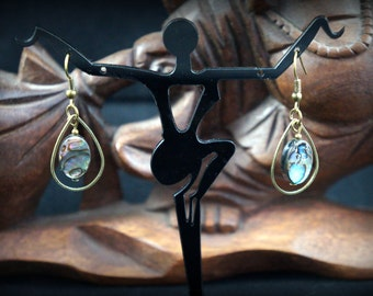 Earrings drops bronze, sequins Pearl Abalone shell abalone Haliotis