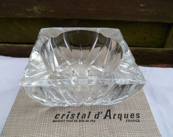 Ashtray Crystal D'arques, French-made, vintage, retro,