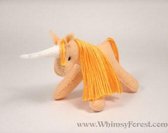 Miniature Orange Felt Unicorn Toy