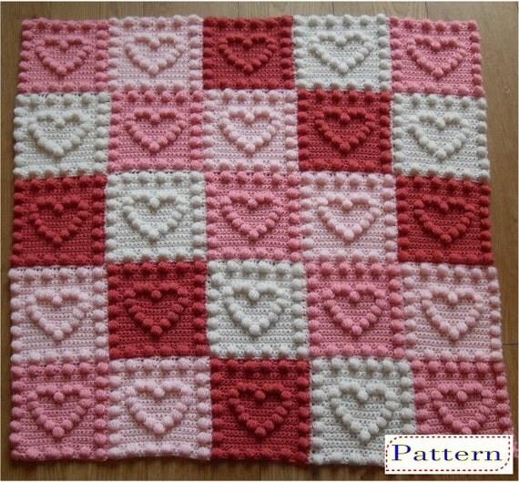 Knitting Pattern For Unicorn Blanket : Heart Motifs Baby Blanket Crochet Pattern by Peach.Unicorn