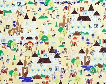 Japanese Fabric ~ Kokka Fabric ~ Knights Fabric ~ Castles ~Boys Fabric~ Yellow Fabric~ Printed Cotton Oxford ~ Quilt Fabric ~ Apparel Fabric