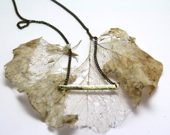 """Simple Long Hammered Brass Gold Effect Pendant Geometric Bar Necklace on 18"""" Antiqued Brass Chain, beautiful gift"""