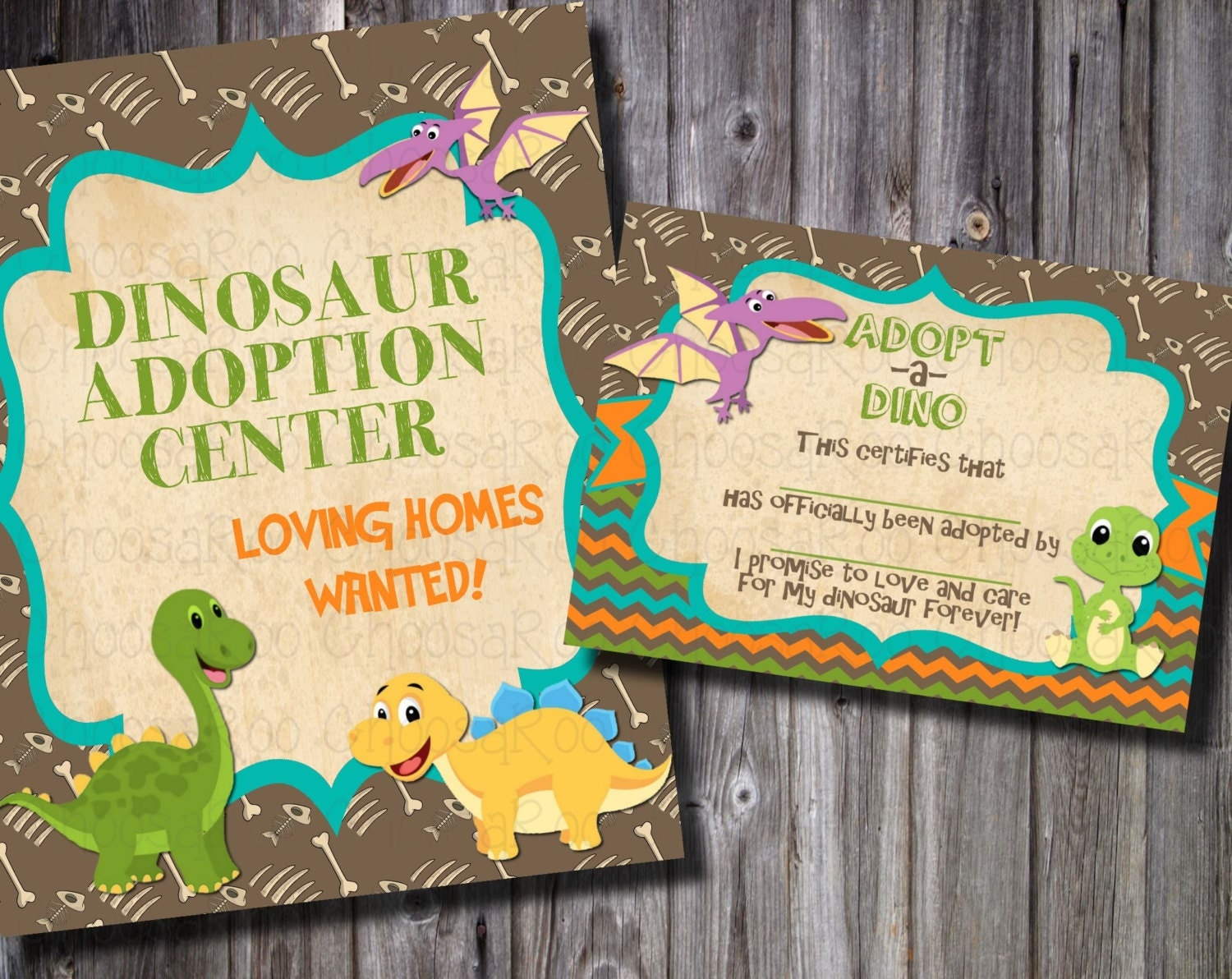 DINOSAUR Pet Party Adoption Center Certificate & Sign Easy