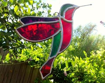 Hummingbird Suncatcher Stained Glass Hummingbird Art Window Decoration Red Bird Sun Catcher Red Stained Glass Art Red Hummingbird Decor