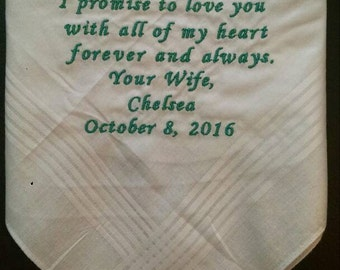 Personalized embroidered men's handkerchief // groom // father-of-the-bride