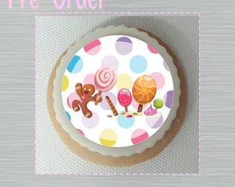 """Candyland Sugar Cookie 2""""- 12 Sugar Cookies Decorated With Marshmallow Fondant-Party Favors"""