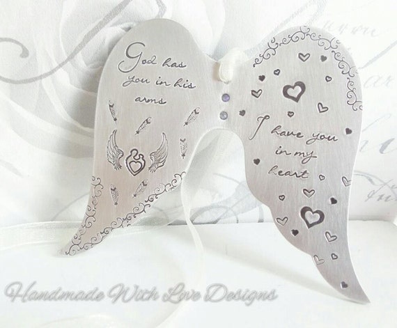 Angel Baby Ornamental Hanging Wings, personalised handstamped baby loss memorial