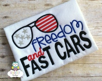 Freedom and Fast Cars Patriotic or 4th of July Shirt or Bodysuit, Independence Day, 4th of July Parade, Fireworks, Fourth of July