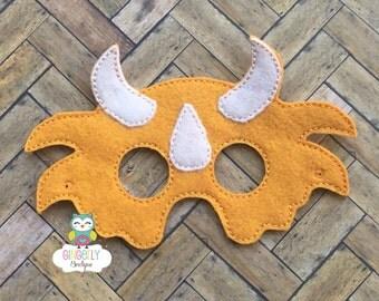 Dinosaur Mask, Kids Dress Up Mask, Dinosaur Costume Mask, Wool Blend Mask, Felt Dinosaur Mask, Jungle Party Favor, Monkey Mask