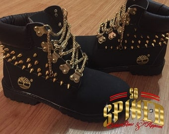 Custom Black spiked tims with gold chains (adult sizes only)
