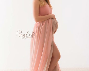 Peony dress / maternity gown/open front/maxi dress/brides gown/wedding gown/double layer gown