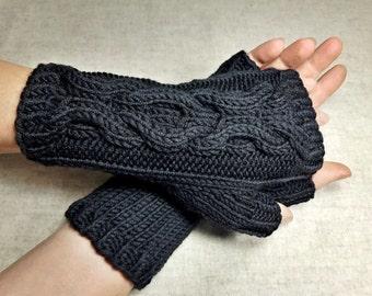 "Fingerless Gloves ""Hugs and Kisses"", organic, black, handknitted mittens for women, fingerless mittens black, gift to wife, cabled gloves"