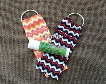 lipbalm keychain chapstick holder, baby shower, mother's day gift, gift for her, orange, black red, chevron, secret santa, stocking stuffer