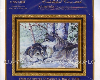 EMBELLISHED CROSS STITCH Kit; needlework, wolf pair, winter, pre-printed full color design, 14 count aida, chart, from my original art