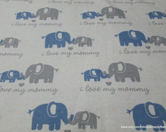 Flannel Fabric - Love Mommy Blue - 1 yard - 100% Cotton Flannel