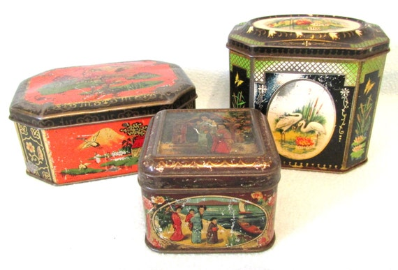 Vintage Collectible Set Of Tins Tea Caddy Tins Loose Tea