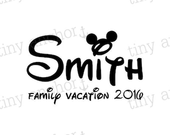 PRINTABLE Personalized Mickey Ears Family Vacation Disney Vacation Iron On Transfer