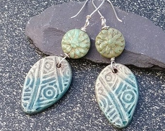 Green Earrings,  ceramic earrings, sterling silver earrings, silver earrings, dangle earrings